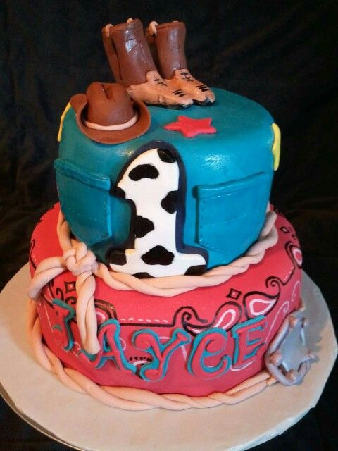 Little boy cowboy 1st birthday cake by LaKeisha Hill / Keck with Sweet Tooth Mother and Daughter Cakes.