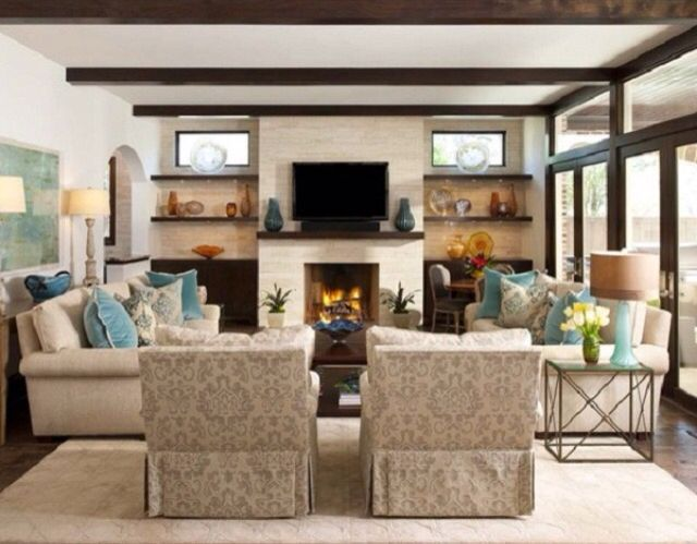 Open Concept With Large Windows A Fireplace Living Room