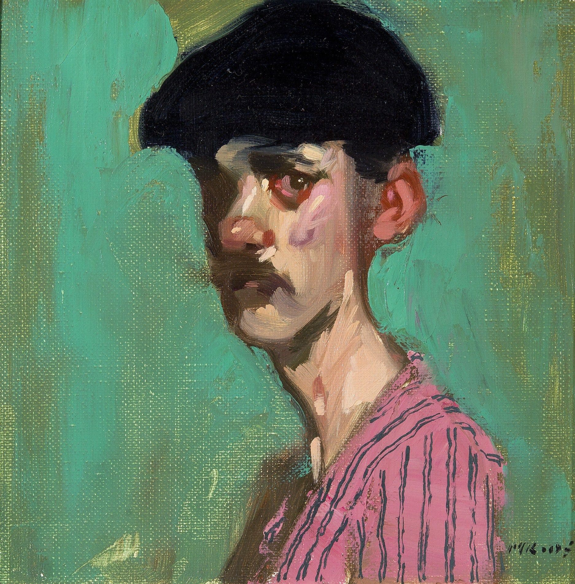 Milt Kobayashi: Coney Island Barker | Oil | 8 x 8