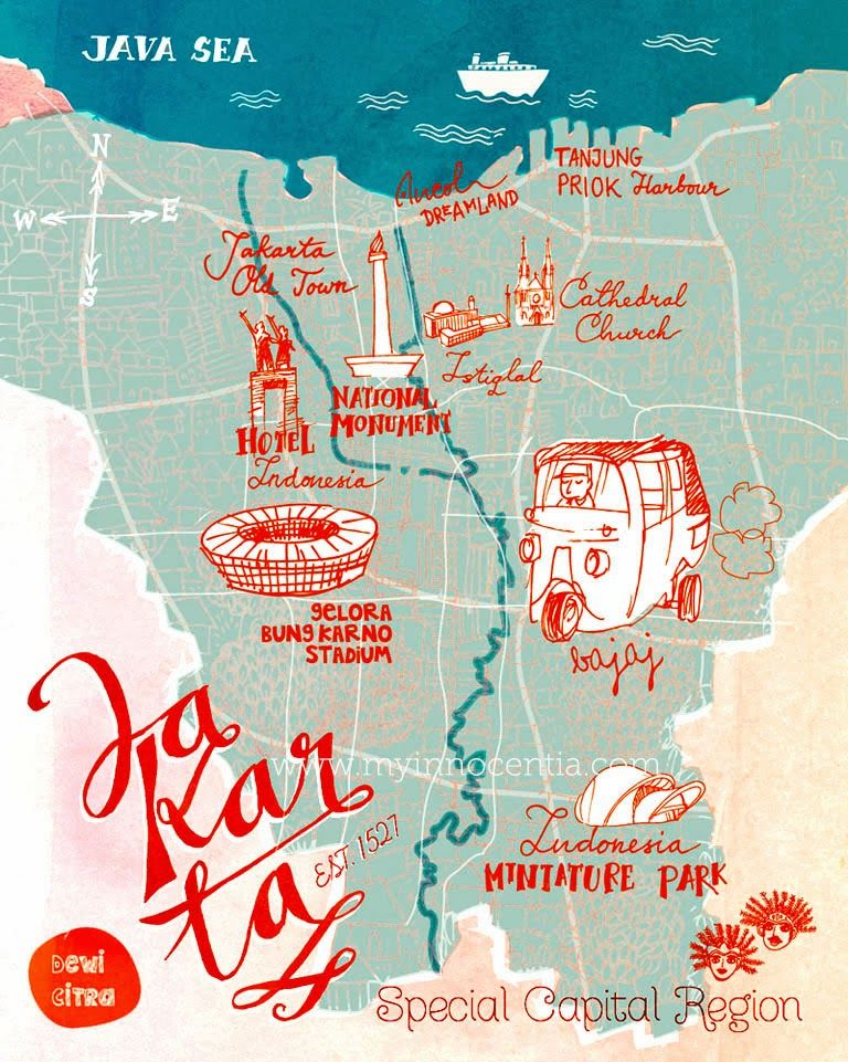 Jakartas tourism map you can see some interests place in jakarta illustrated map of jakarta jakartas tourism map you can see some interests place in jakarta the capital of indonesia gumiabroncs Gallery