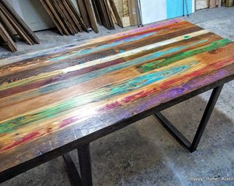 High Quality Custom Reclaimed Salvaged Wood Dining Table Or Desk With Paint And  Patchwork Stains