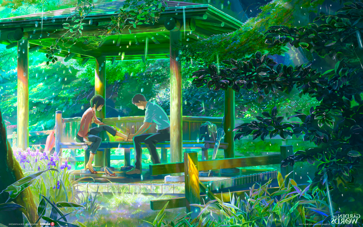 The Garden Of Words Rain Makoto Shinkai Hd Wallpaper Desktop Background Garden Of Words Anime Scenery Anime Flower