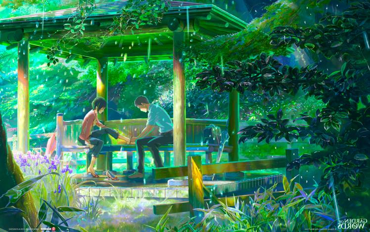 The Garden Of Words Rain Makoto Shinkai Hd Wallpaper Desktop Background Garden Of Words Anime Scenery Anime Flower