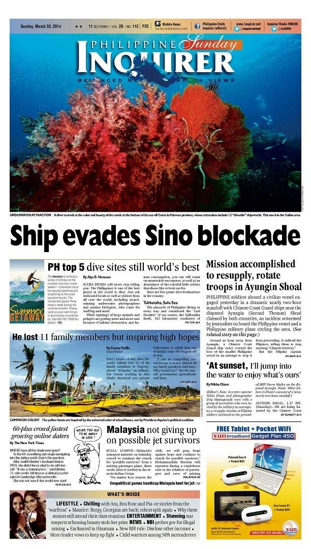 Mar. 30 Sunday #Inquirer front page. You can also download the digital version via inquirer.net/apps/.