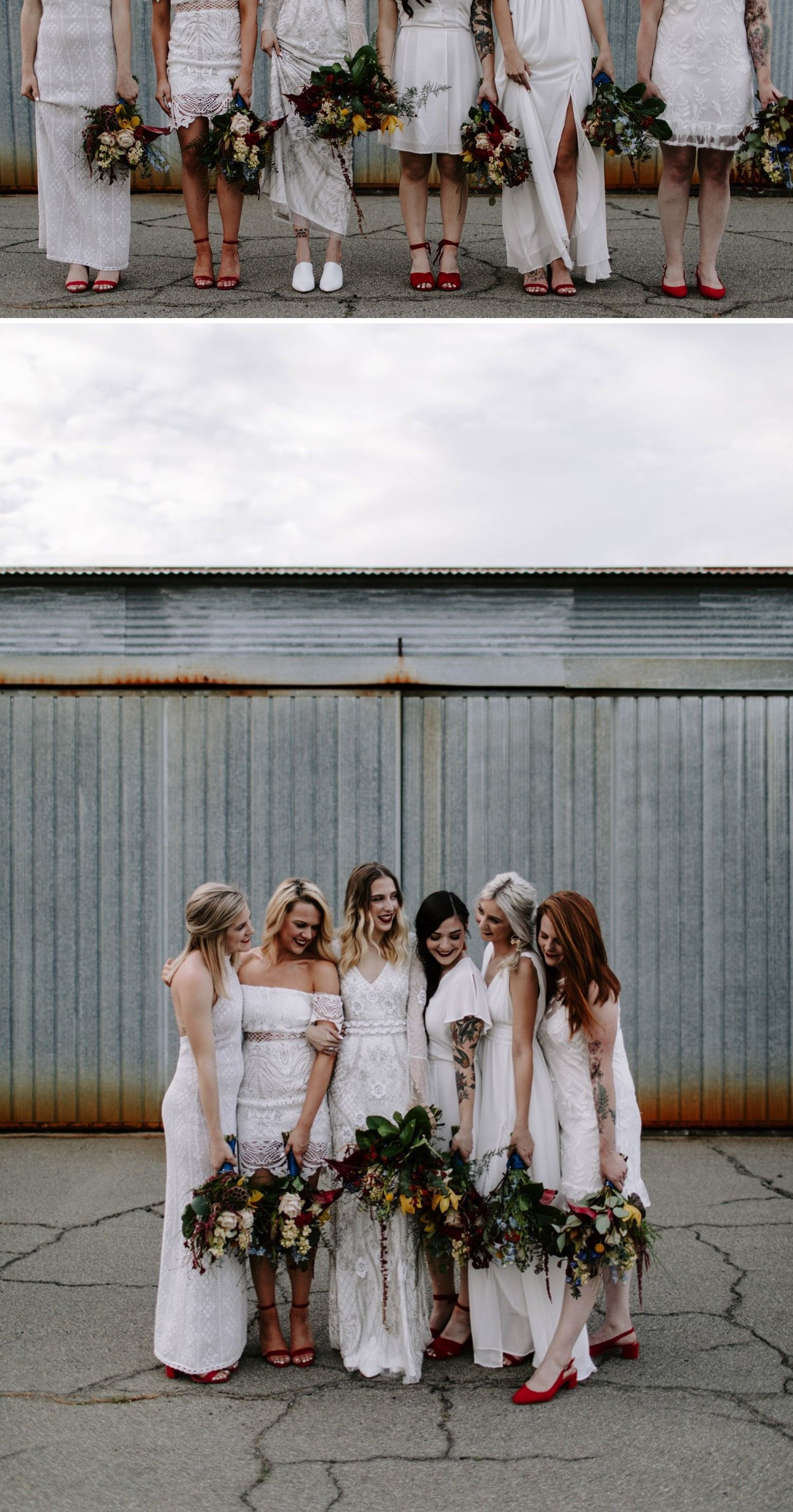 All white bridesmaids dresses with red shoes and colorful bouquets