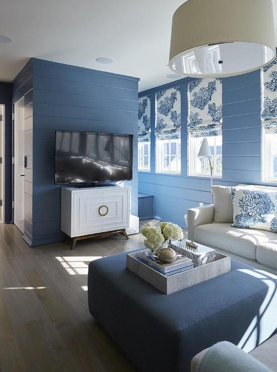 Best Blue Cottage Living Room Boasts Walls Clad In Blue Shiplap 640 x 480