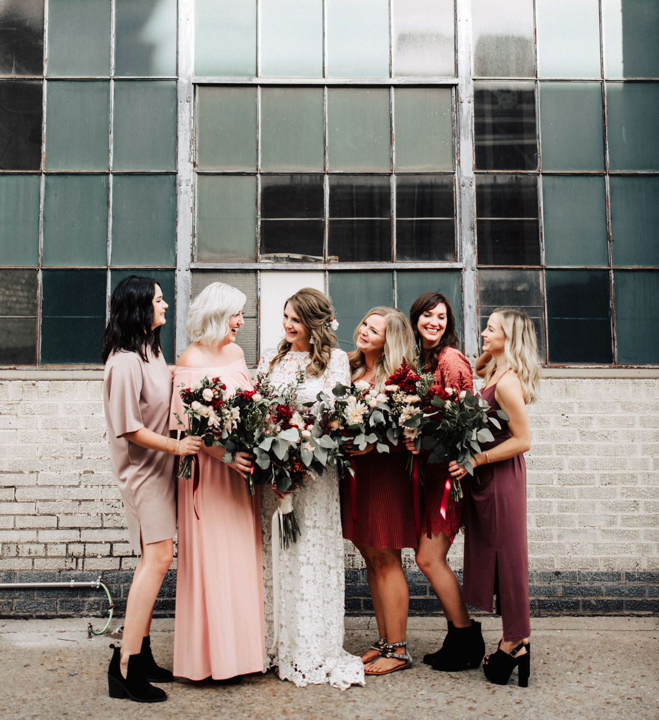Modern FallInspired Rooftop Wedding Fall bridesmaid