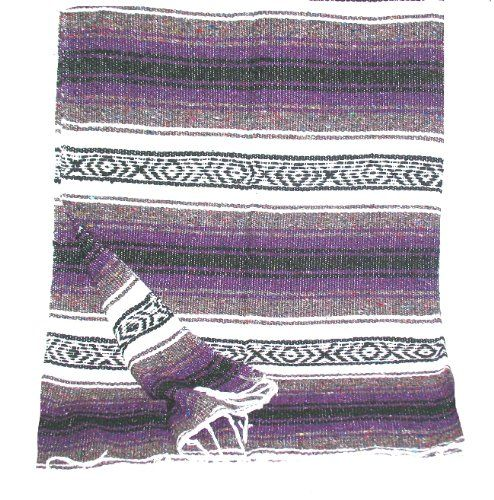 Large Purple White Black Mexican Falsa Blanket Yoga Mat Made In Mexico 17 99 Handmade Rugs Falsa Blankets Mexican Blanket