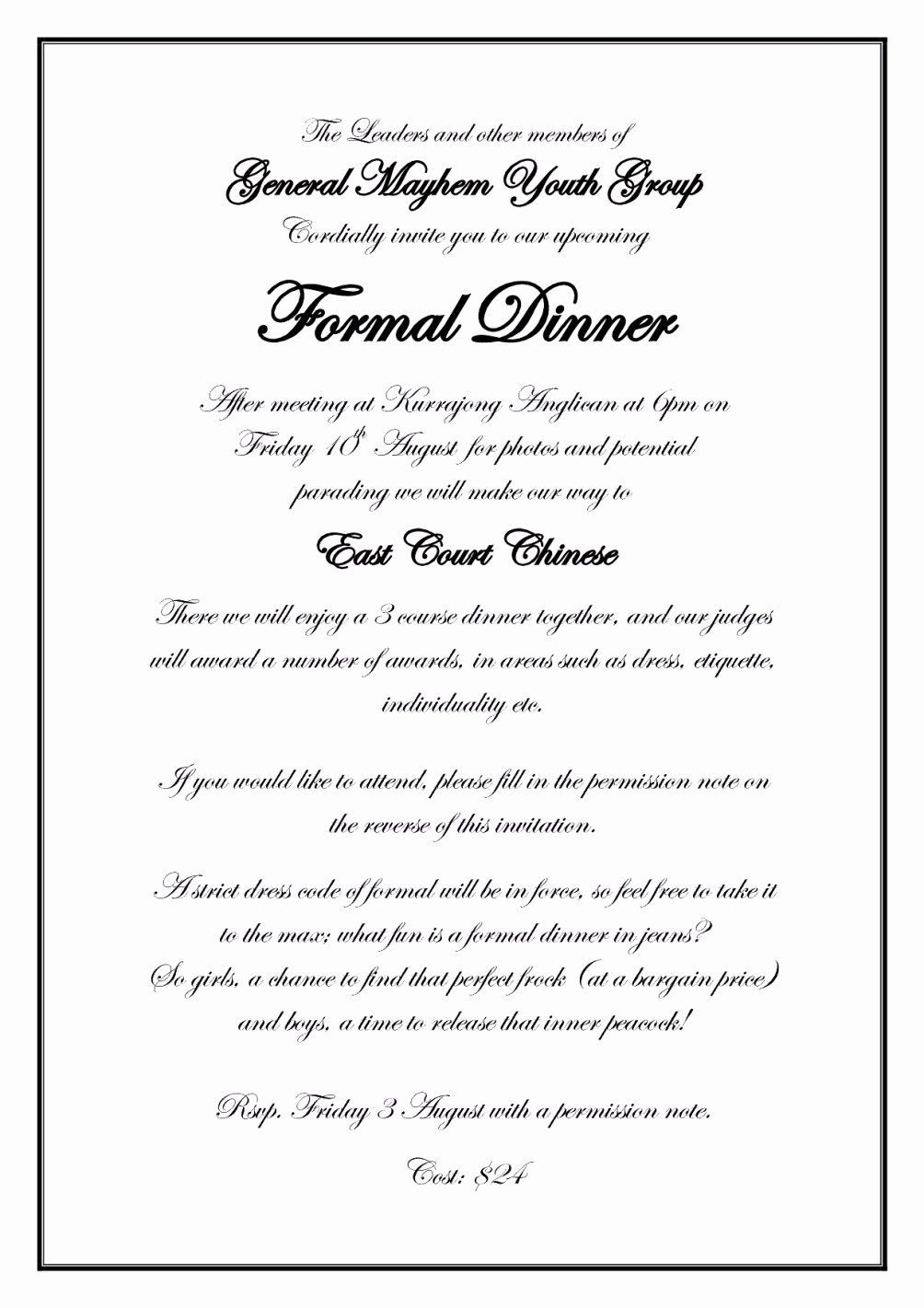 Formal Dinner Invitation Templates Inspirational formal Dinner