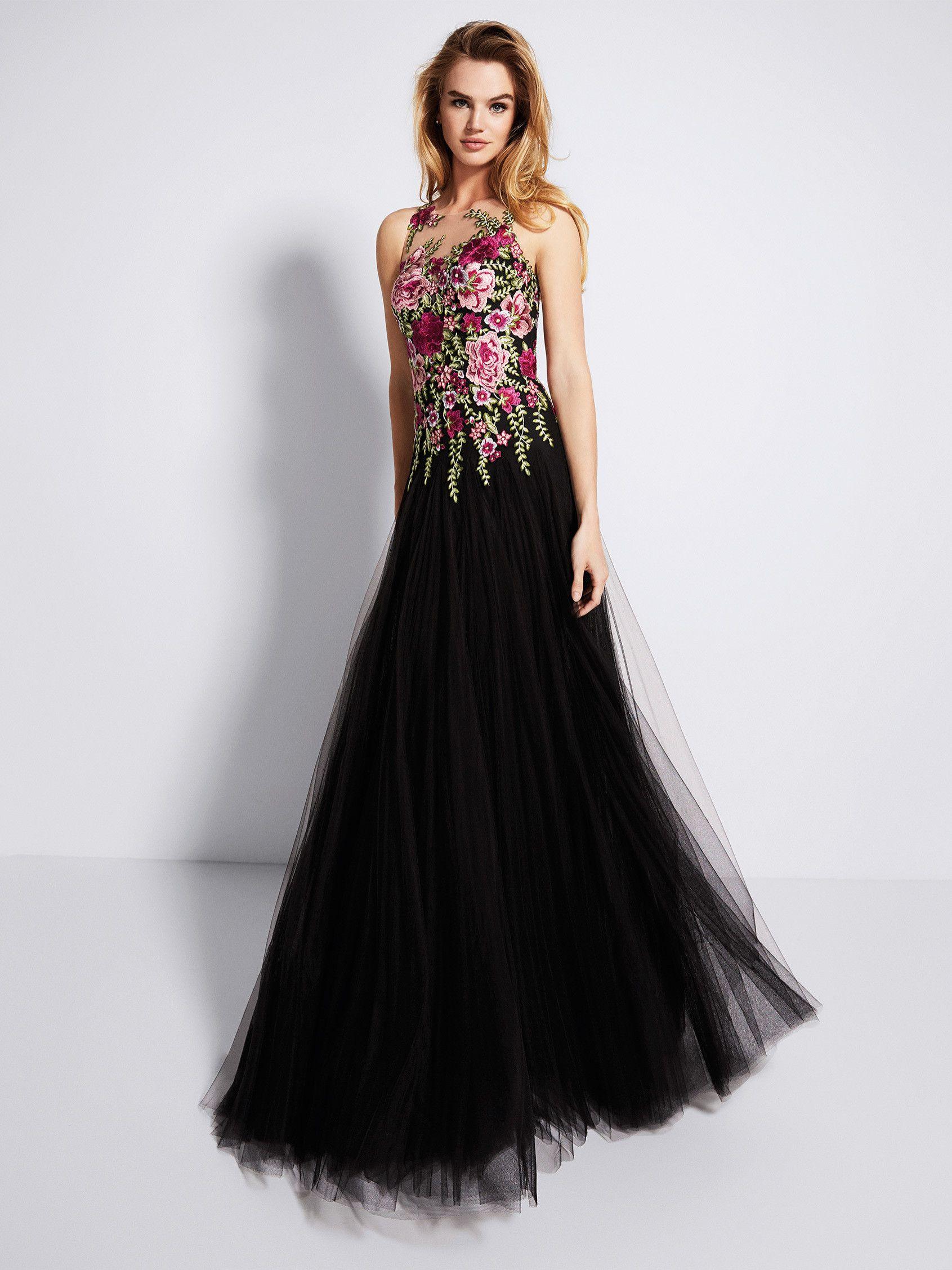 781914074 Vestido de fiesta negro con flores - Colección fiesta 2018 Pronovias ...