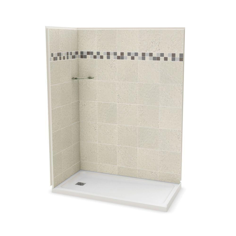 Utile 32-Inch x 60-Inch Corner Shower Stall in Stone Sahara ...