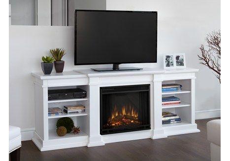 Real Flame Fresno Electric Fireplace Black White Or Dark Walnut