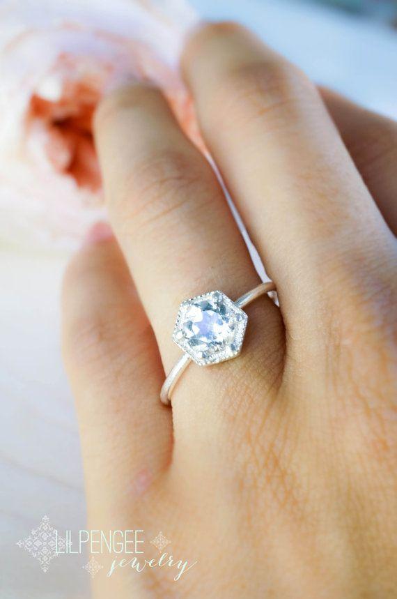 Dainty Hexagon Ring 6mm White Topaz Ring Silver Ring Geometric