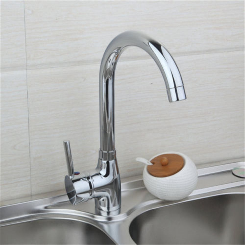 Zinc Alloy Chrome Kitchen Mixer Cold and Hot Kitchen Tap Single Hole ...