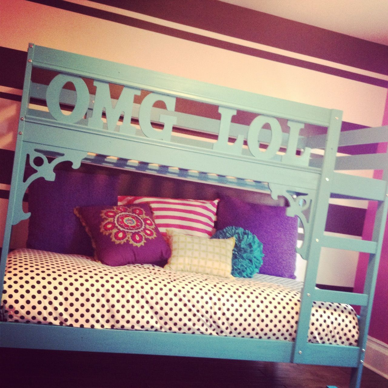 Ikea bunk bed hack.  For my pre-teen girl's bedroom.  It's turning out so nicely!!!