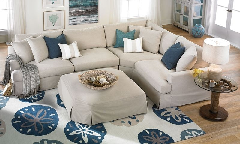 4 Piece Modular Slipcovered Sectional Sofa With Feather Blend