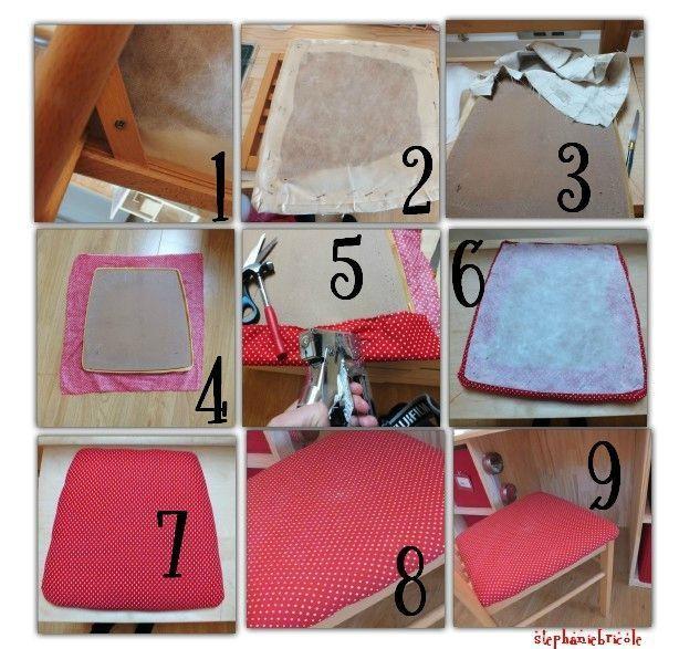 id e deco recup faire soi m me comment recouvrir une chaise avec un nouveau tissu pour. Black Bedroom Furniture Sets. Home Design Ideas