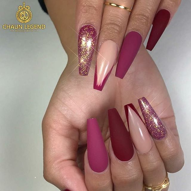 Coffin Shaped All Shades Of Burgundy Red Matte And Shiny With Gold