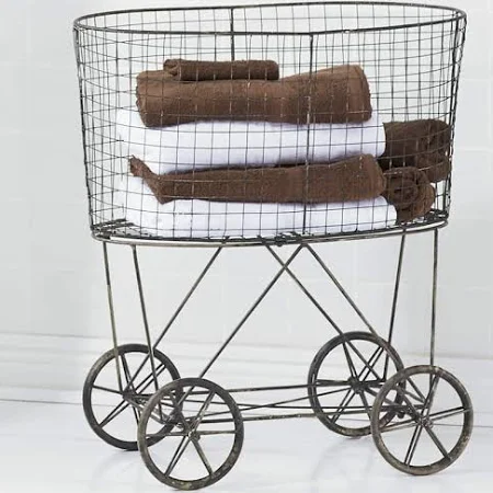 wire rolling laundry cart Google Search Vintage