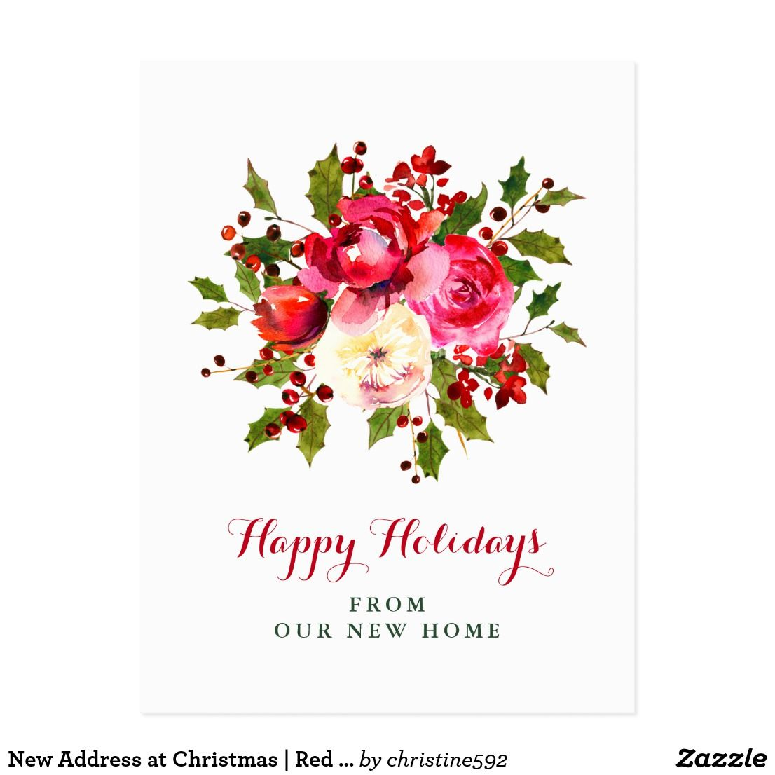 New Address At Christmas Red And Green Flowers Postcard This