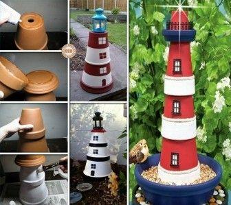 Cute garden art DIY idea - lighthouse made of painted clay ... on