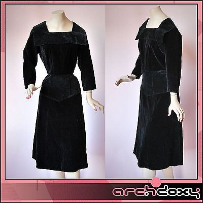Vintage 1940s Sumptuous Black Velvet Sailor Collar Agent Carter Wiggle Dress 14 - http://www.ebay.co.uk/itm/like/282029085656?clk_rvr_id=1025927160557&item=282029085656&lgeo=1&vectorid=229508&rmvSB=true