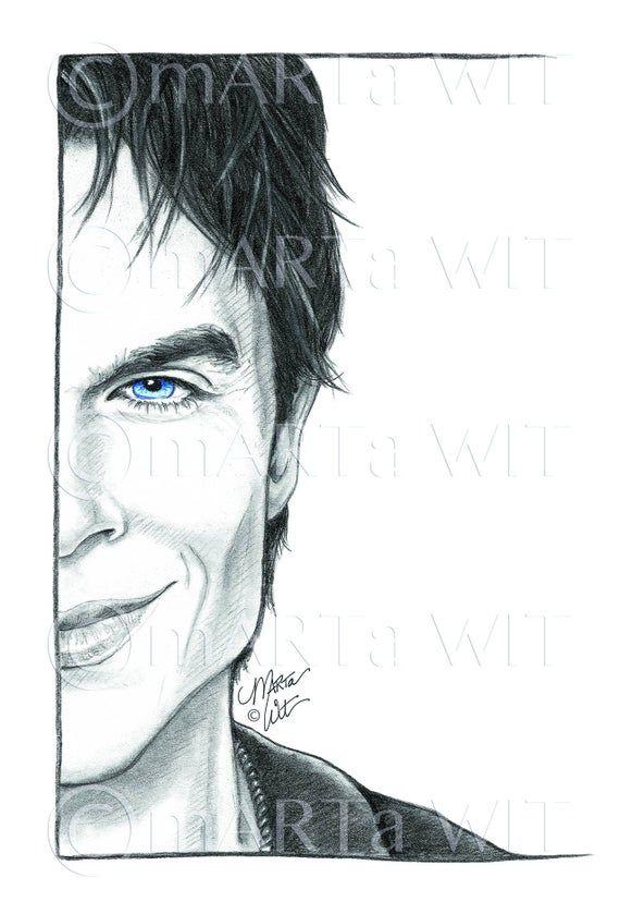 TVD02 - Fan Art Print - Damon Salvatore