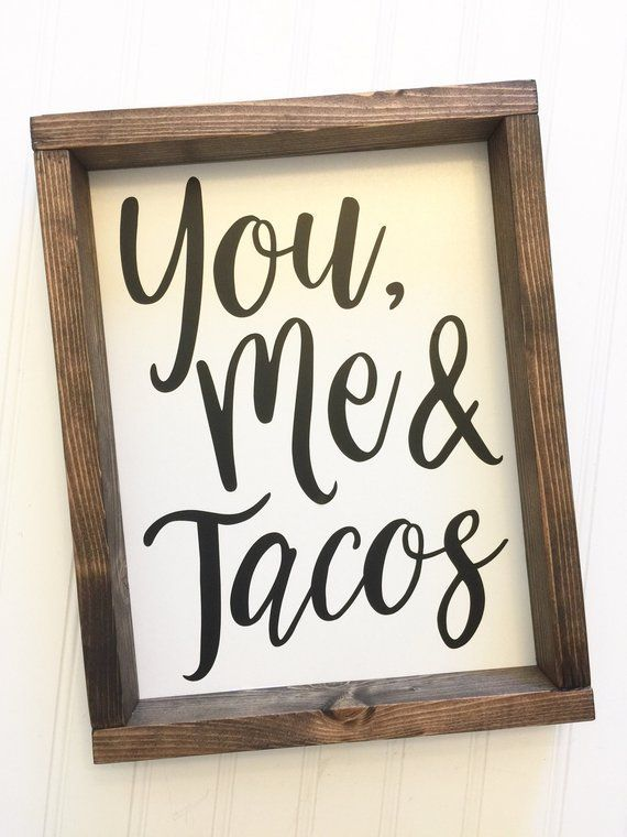 You Me and Tacos  Funny Kitchen Decor  Canvas Farmhouse | Etsy