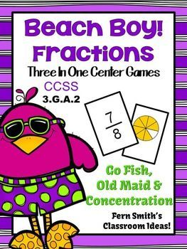 Beach Themed Fractions for Common Core 3.G.A.2 Concentration, Go Fish and Old Maid - Three Games in One! #TPT  $Paid