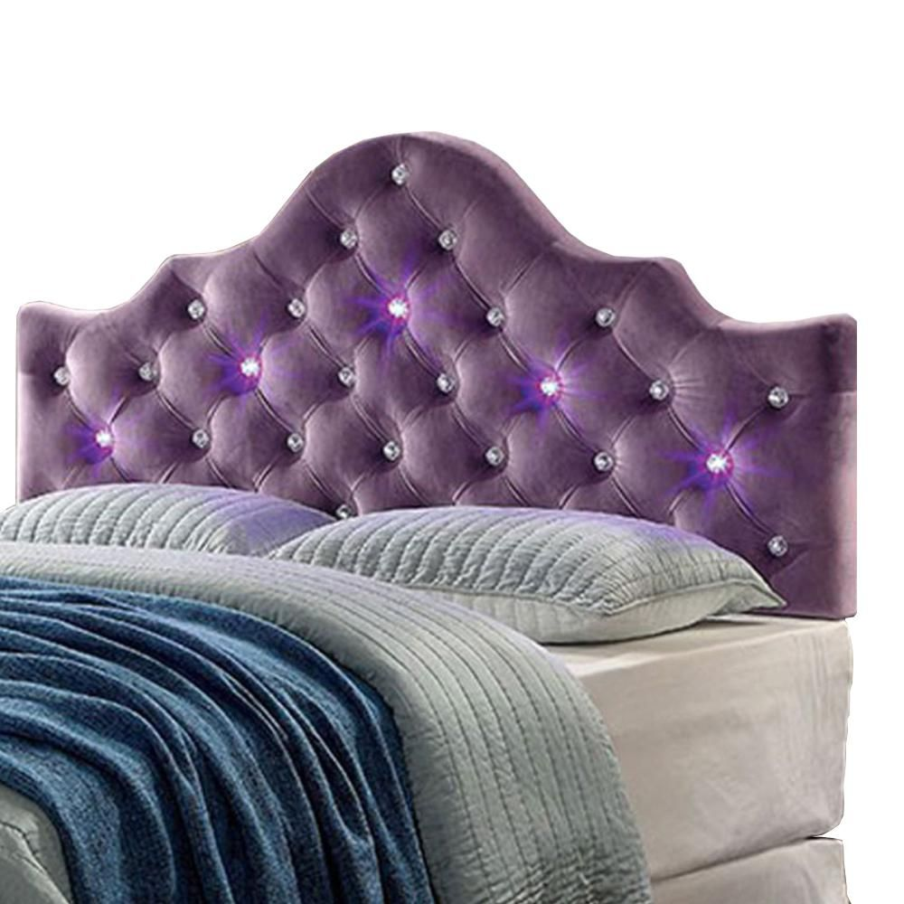 Benzara Purple Twin Size Contemporary Headboard In Leatherette With Led Lights Bm123865 Contemporary Headboards
