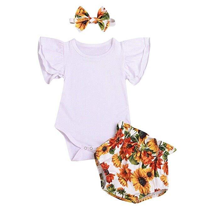 Newborn Baby Boy Girl Summer Solid Romper Bodysuit Jumpsuit Outfits Sunsuit Joy