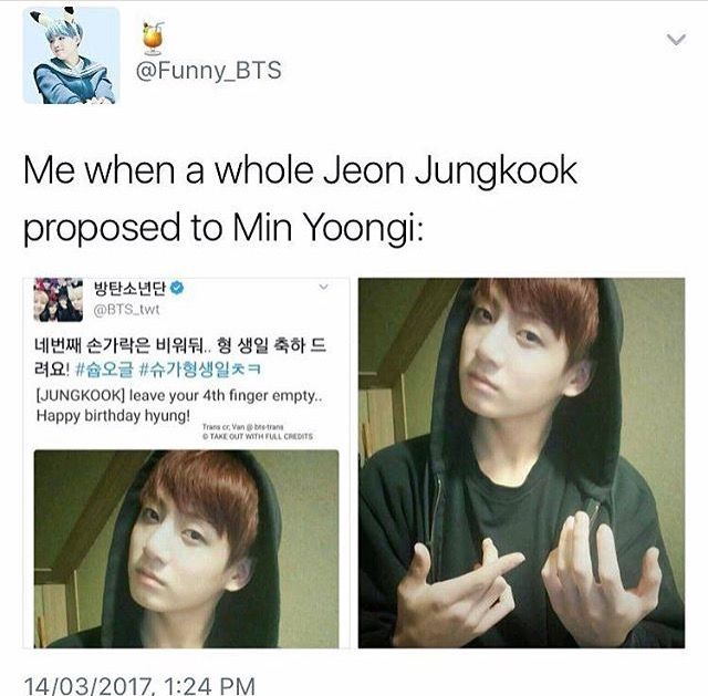 Jungkook propose to Yoongi   fangirl me in 2019   Bts, Bts