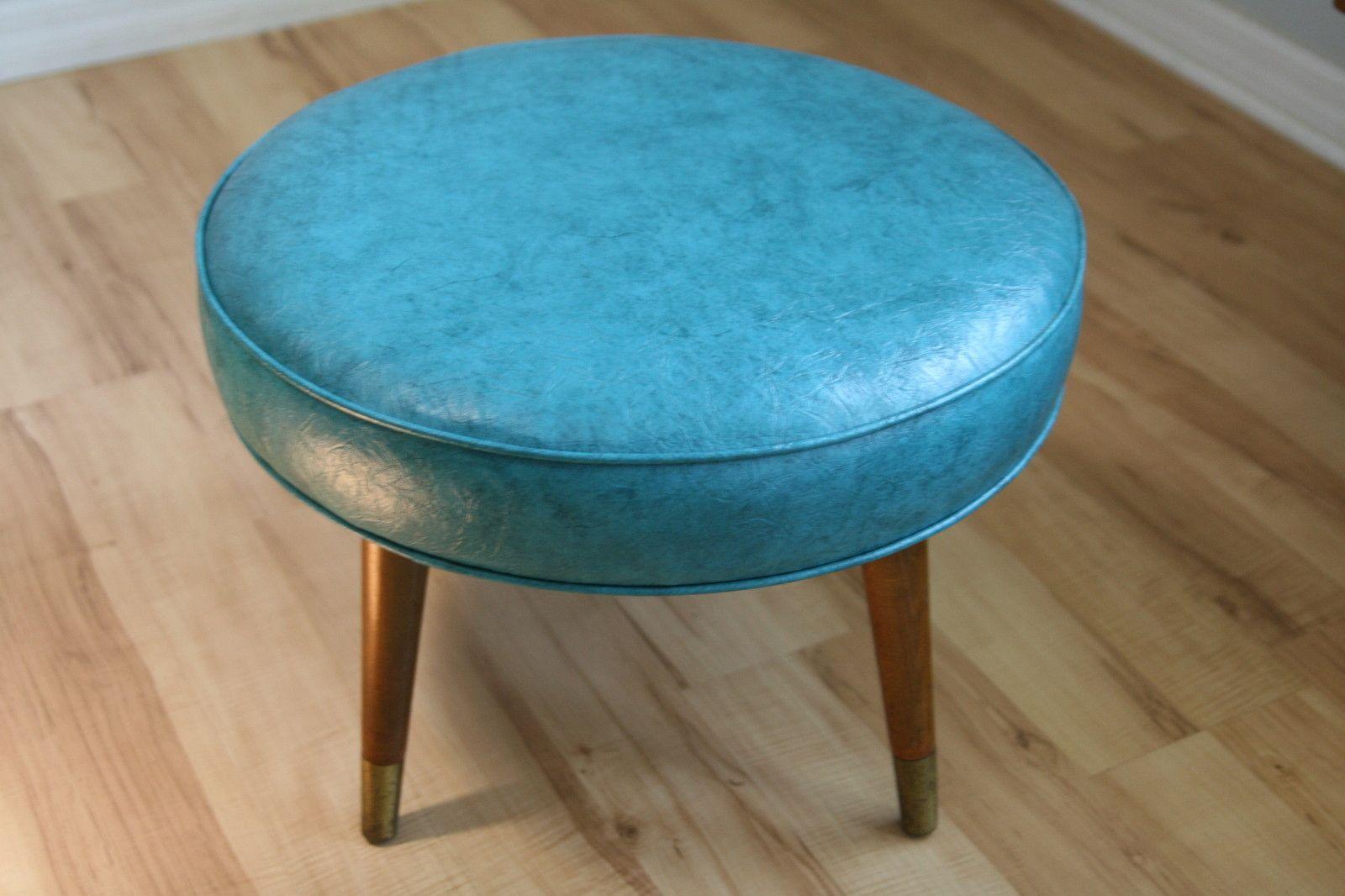Ebay 130733436536 Mid Century Modern Round Footstool Ottoman Retro - Retro-contemporary-round-ottoman