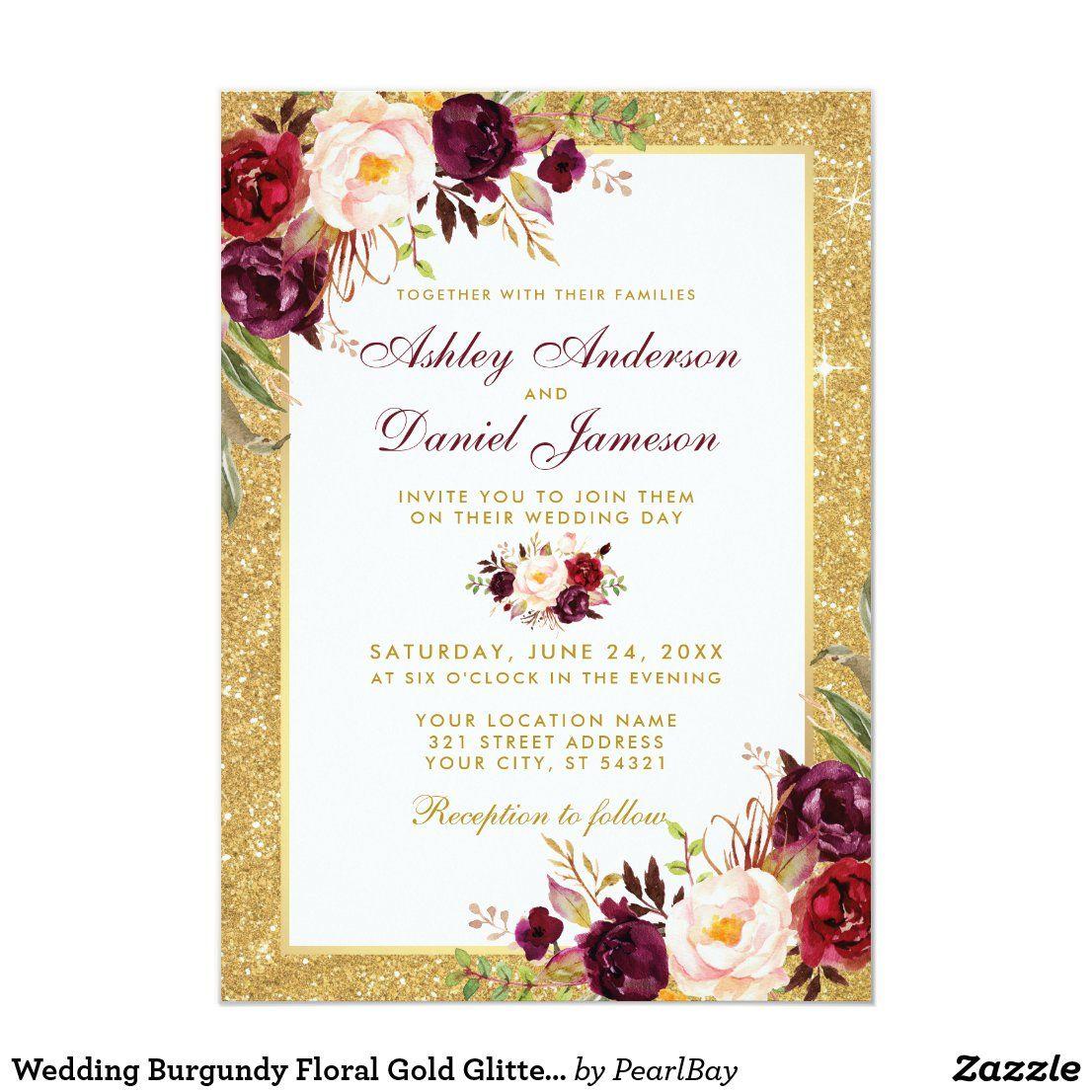 Wedding Burgundy Floral Gold Glitter Invitation