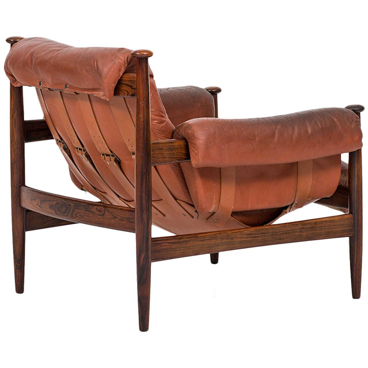 Safari Chair In Rosewood And Red Leather By Ire Möbler In Sweden