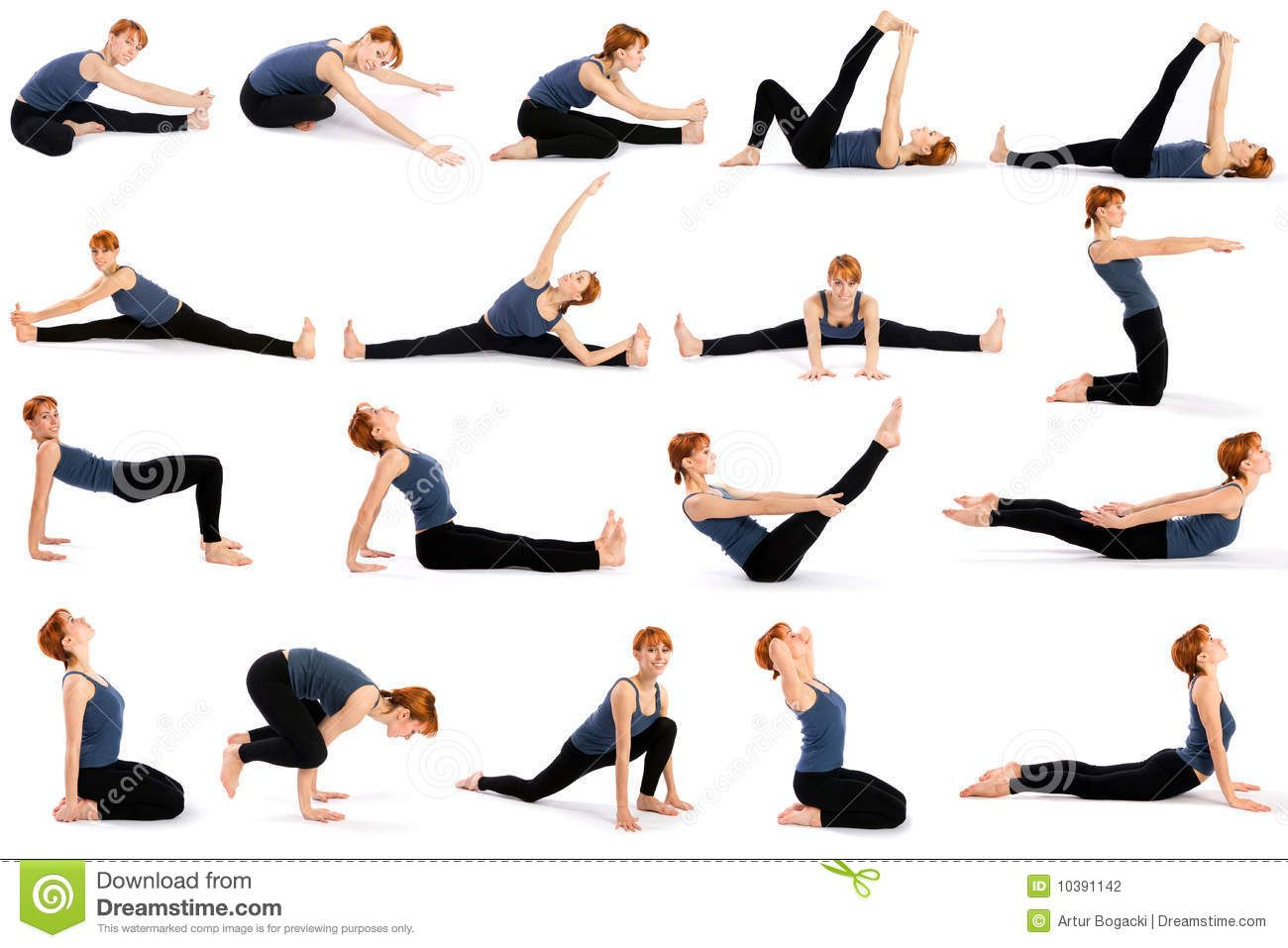 Fitness Woman In Various Standing Yoga Poses Stock Photo - Image ...