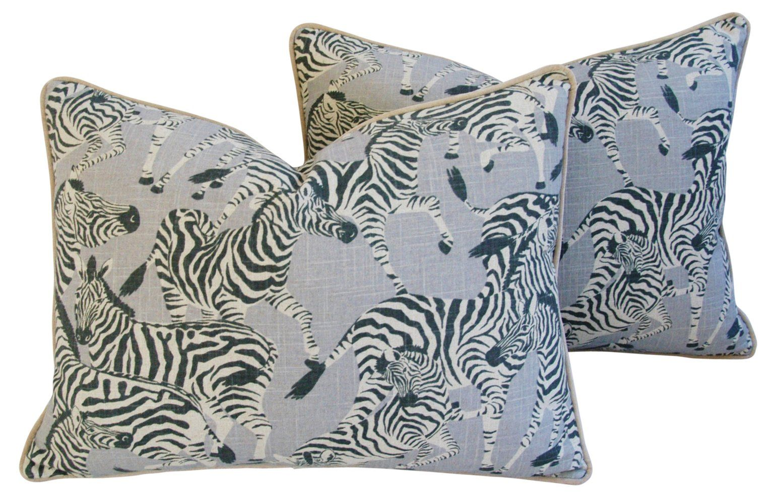 Safari Zebra Linen/Velvet Pillows, Pair - Mike Seratt - Top Vintage Dealers - Vintage  One Kings Lane #Velvet#Pillows#Pair