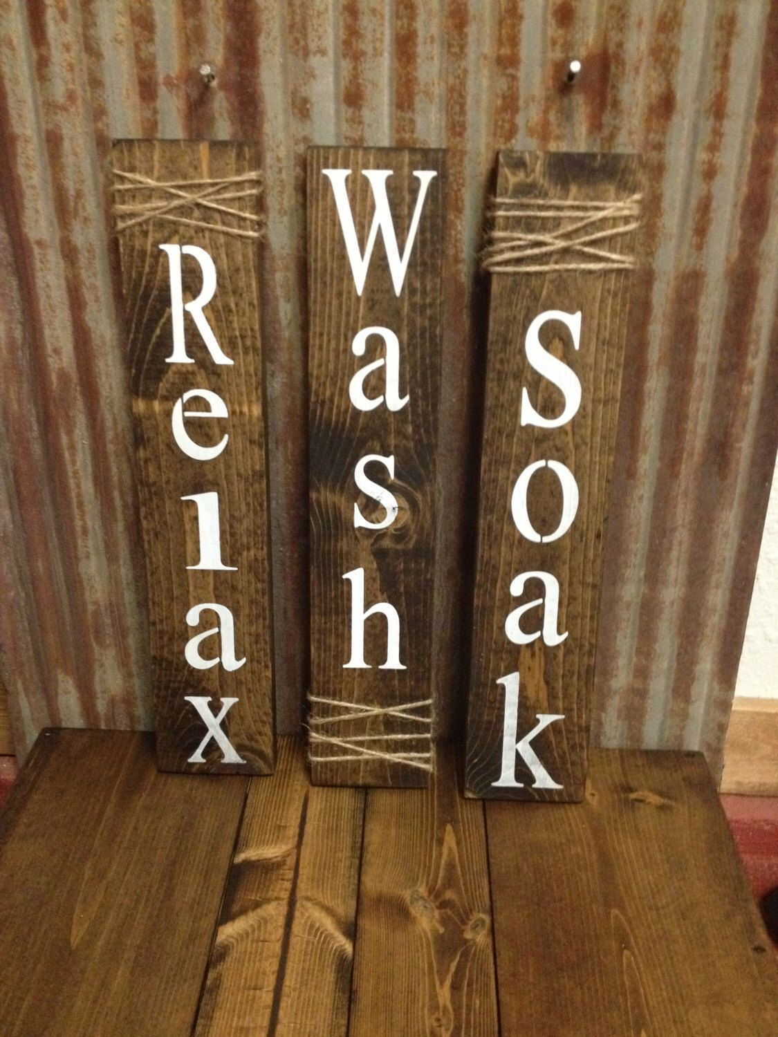 Set Of Three Rustic Bathroom Signs Bathroom Sign Bathroom Wall