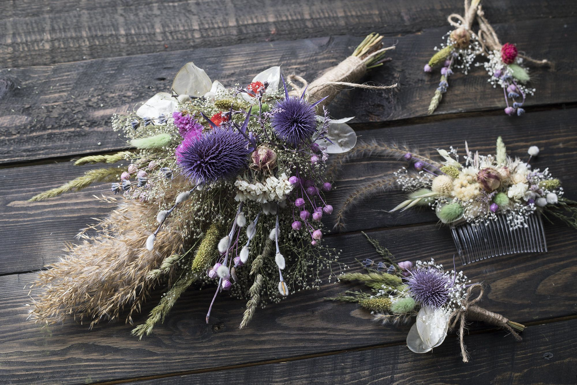Dried Flower Thistle Bouquet Lavender Pampass Grass Pyssy Willow Flowers Dried Flower Arrangement Rustic Home Decor Wedding Set In 2020 Dried Flower Arrangements Thistle Bouquet Flower Arrangements