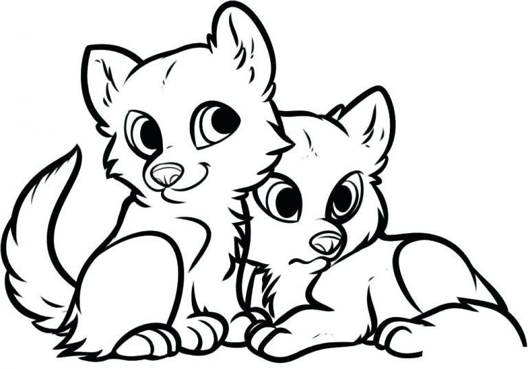 Baby Foxes Animal Coloring Pages #cutepuppycoloringpages