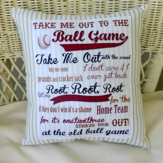 Ball game Baseball Pillow French Ticking by JulieButlerCreations