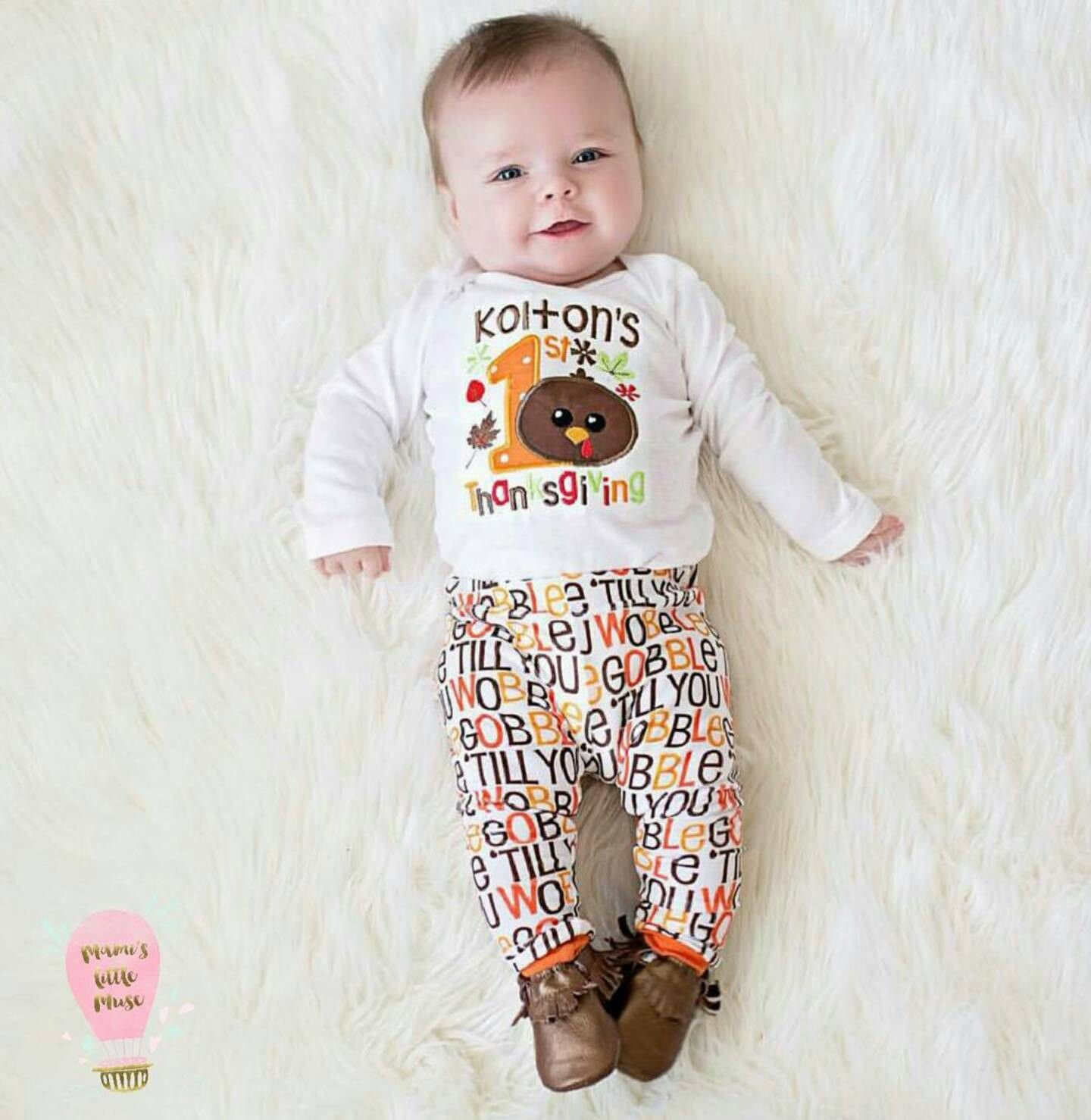 Organic Baby Leggings Thanksgiving Leggings Gobble till you wobble