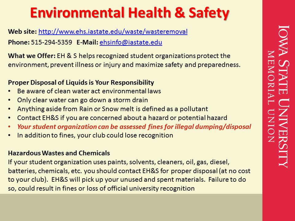 Environmental Health & Safety Iowa State University