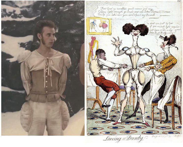 Robert Emms as Charles Renbock in 'Mirror Mirror' (2012) vs. 'Lacing a Dandy, colored etching, fashion caricature 1877. (Museum of London).