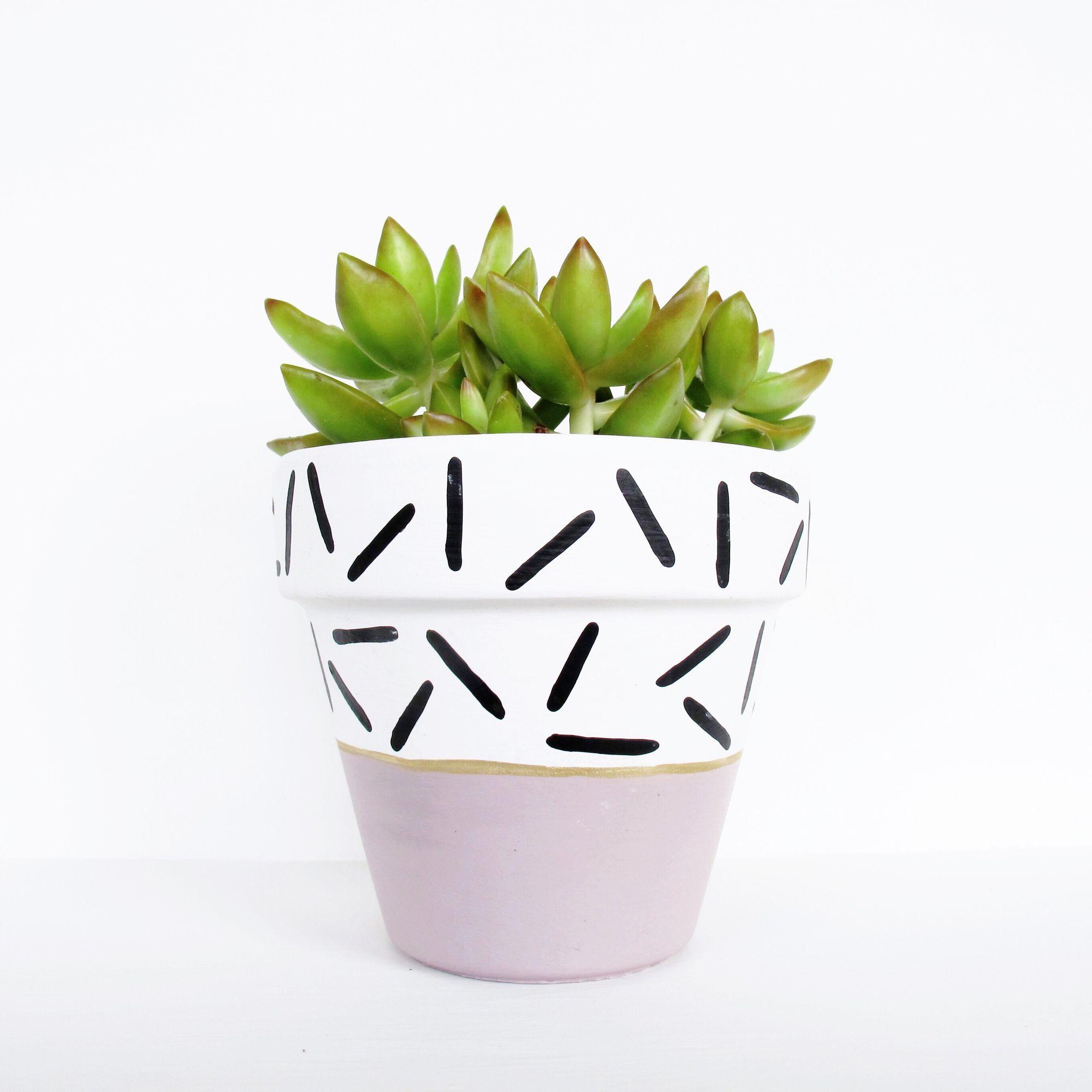 Hand Painted Plant Pot  Mauve Dash