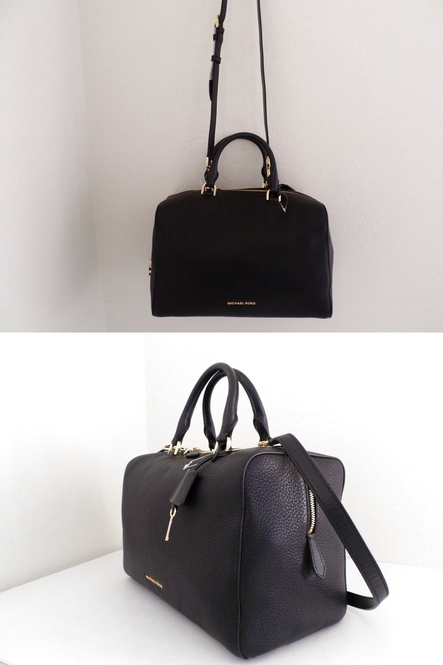 7c9ef0a4e32f NWT AUTHENTIC MICHAEL KORS KIRBY LARGE LEATHER SATCHEL- 348-BLACK  224.99