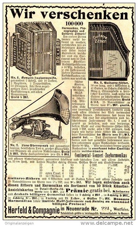 Original-Werbung/ Anzeige 1907 - MUSIKINSTRUMENTE HERFELD & COMPAGNIE NEUENRADE - ca. 100 x 160 mm