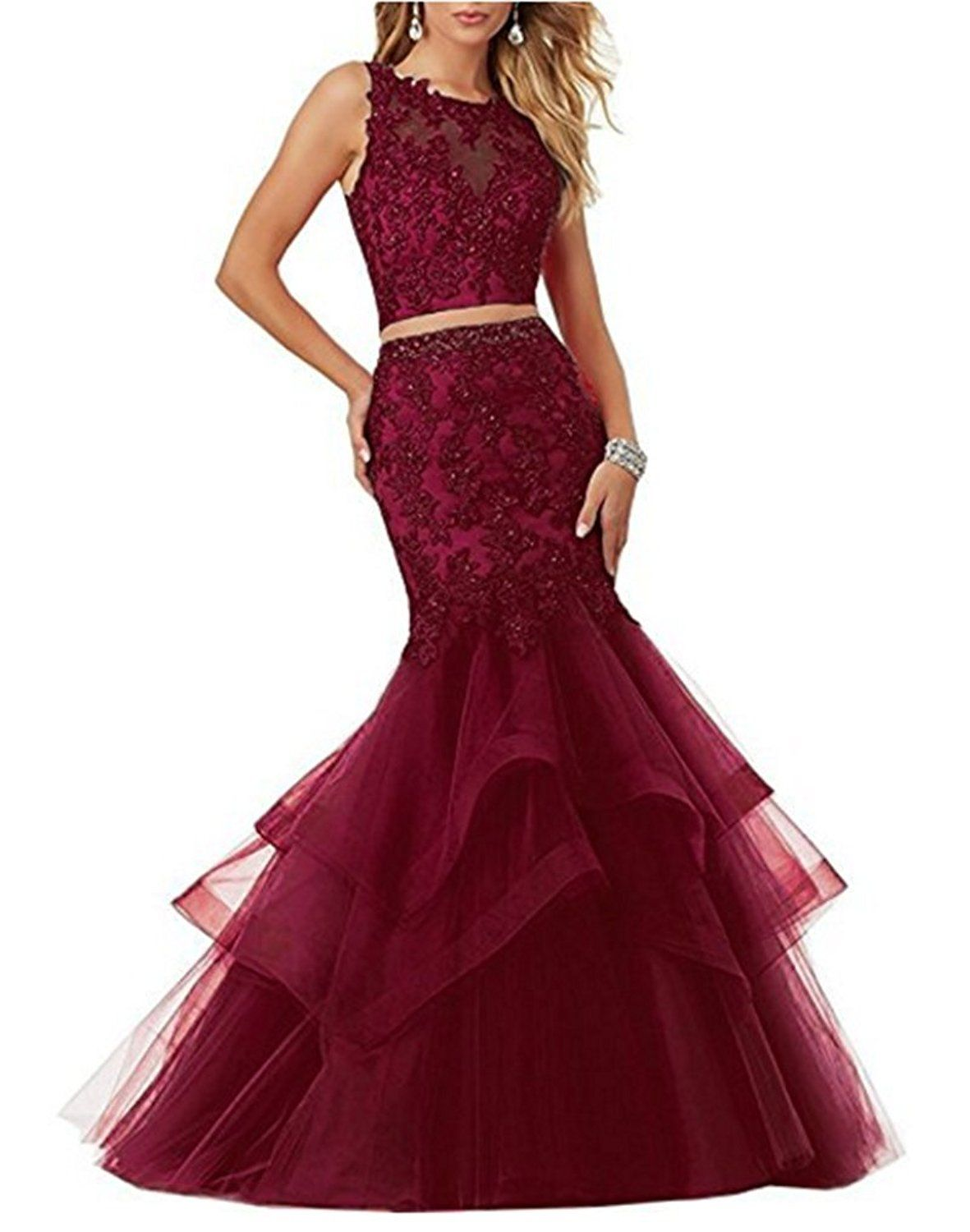 Womenus appliques piece prom dresses mermaid formal long evening