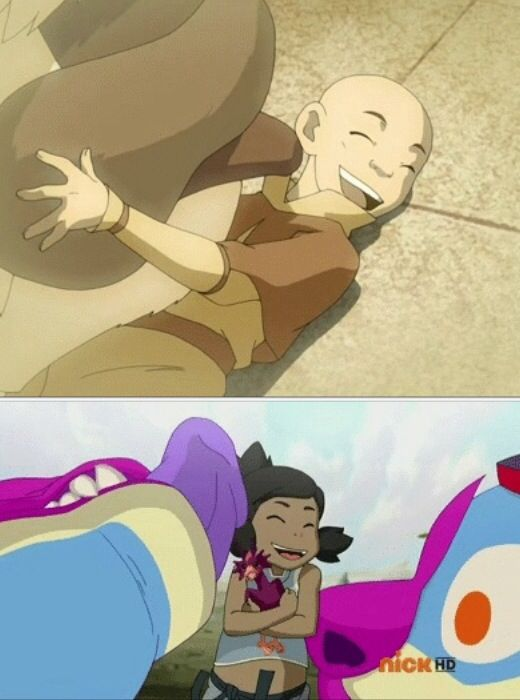The Legend of Korra/ Avatar the Last Airbender: baby avatars getting licked by huge tongues :)