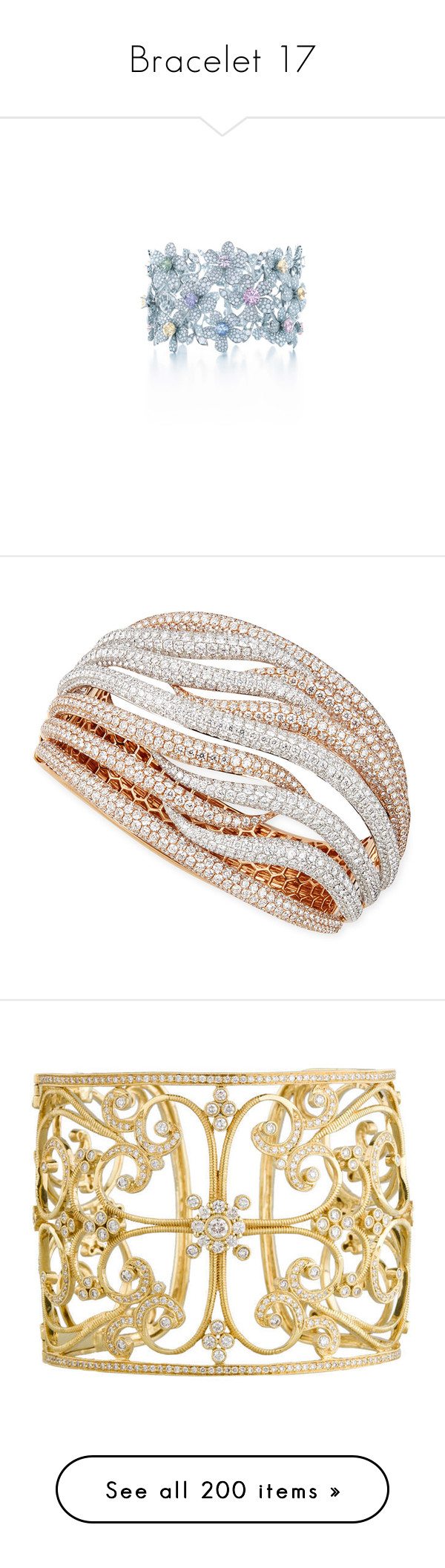 """Bracelet 17"" by rin-kute ❤ liked on Polyvore featuring jewelry, bracelets, tiffany co jewellery, tiffany co jewelry, gioielli, rings, pave diamond bangle, rose gold bangle, bracelets bangle and white cuff bracelet"